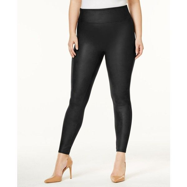 Spanx Plus Faux-Leather Leggings ($102) ❤ liked on Polyvore featuring plus size women's fashion, plus size clothing, plus size pants, plus size leggings, black, spanx pants, legging pants, imitation leather pants, faux leather leggings and fake leather pants