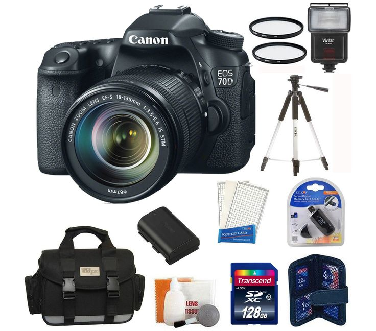 Canon EOS 70D DSLR Camera with 18-135mm STM f/3.5-5.6 Lens + High Speed 128 GB Memory Card + Camera Flash + Camera Bag + Lens Filters + Tripod and more. 20.2 Megapixel CMOS (APS-C) sensor, 14-bit A/D conversion, ISO 100-12800 (expandable to H: 25600) for shooting from bright to dim light and high performance DIGIC 5+ Image Processor for exceptional image quality and processing speed. EOS Full HD Movie mode with Movie Servo AF for improved continuous focus tracking of moving subjects…