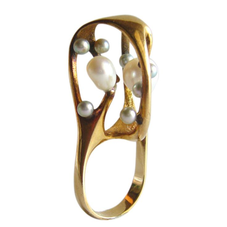 J. ARNOLD FREW Gold Pearl Cocktail Ring 1960s