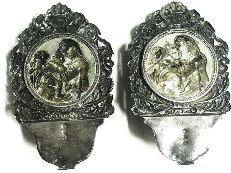COPPIA DI ACQUASANTIERE IN ARGENTO XIX SEC. - Vendita varie d'epoca   Passione Antiqua