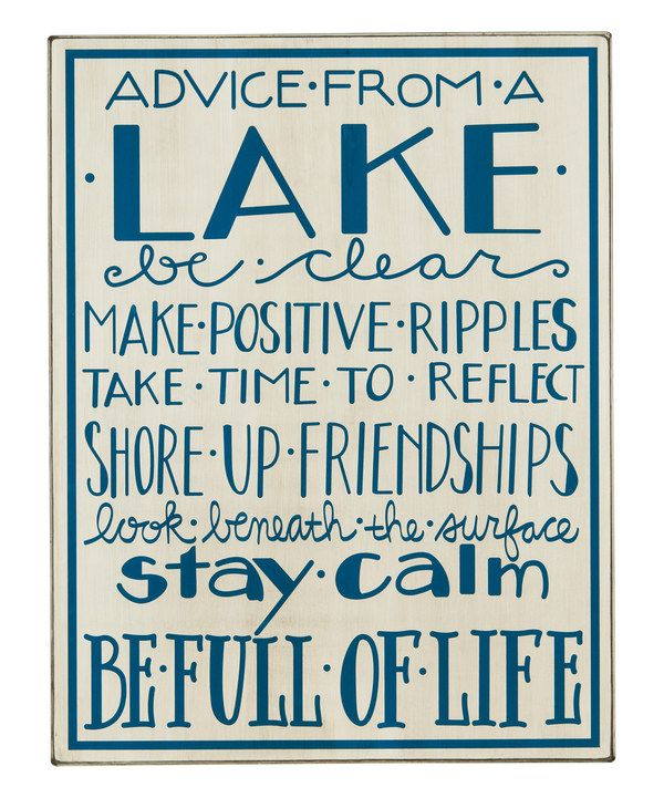 'Advice from a Lake' Box Sign//