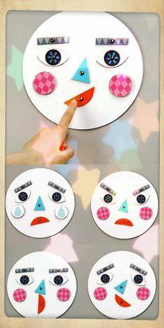 Creativa idea para enseñar a los pequeños las diferentes expresiones faciales a los más perqueños.  ideas para a preescolares - Buscar con Google