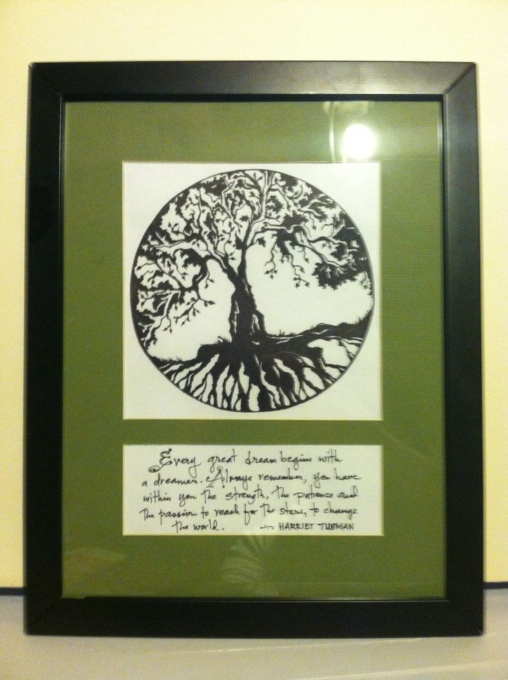 The Tree of Life - a gift for our midwife after our daughter was born - black block moulding and a custom cut earthy green mat surrounding the hand drawn tree of life and a quote from Harriet Tubman