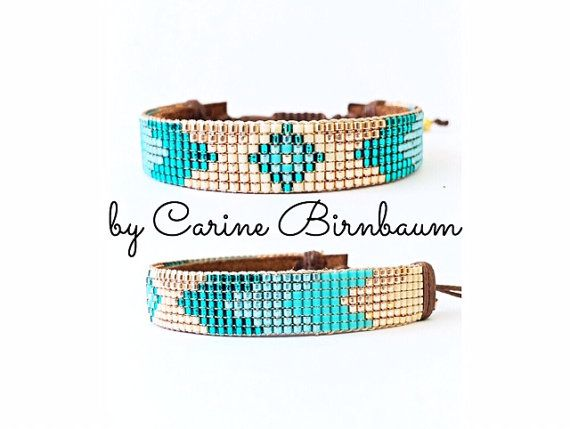 Loom beaded bracelet Beaded bracelet Leather por CarineBirnbaum