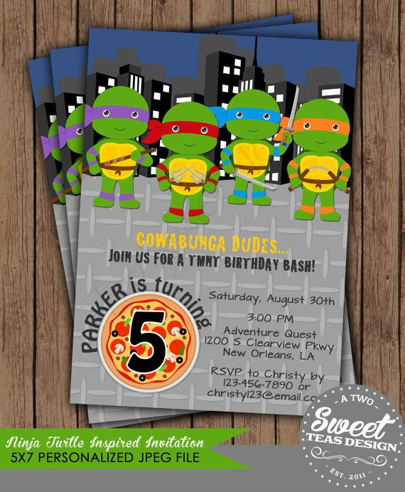 Hey, I found this really awesome Etsy listing at https://www.etsy.com/listing/192670040/teenage-mutant-ninja-turtles-invitation