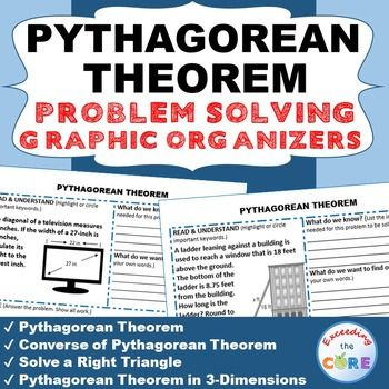 PYTHAGOREAN THEOREM Word Problems with Graphic Organizers Get your students successfully understanding and solving PYTHAGOREAN THEOREM real-world word problems with these PROBLEM SOLVING GRAPHIC ORGANIZERS. Topics Covered: ✔ Pythagorean Theorem ✔ Converse of Pythagorean Theorem ✔ Solve a Right Triangle ✔ Pythagorean Theorem in 3-Dimensions Common Core 8G7, 8EE2