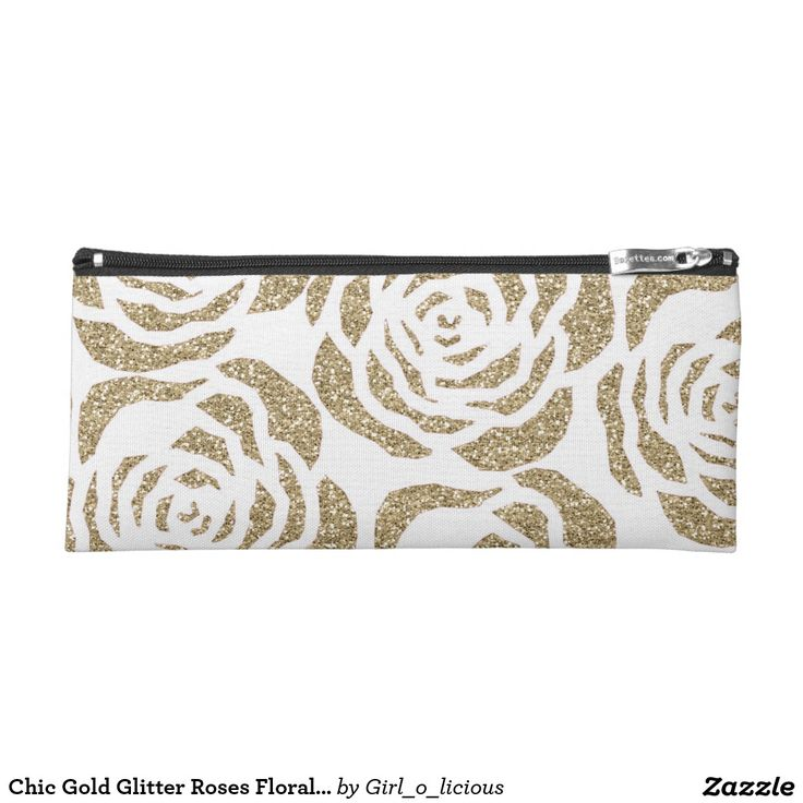 Chic Gold Glitter Roses Floral White Pencil Case