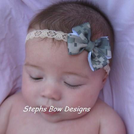Army Digital Camo Camouflage Dainty Hair Bow by stephsbowdesigns, $4.49