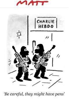 Be careful, they might have pens. Vivre Charlie!
