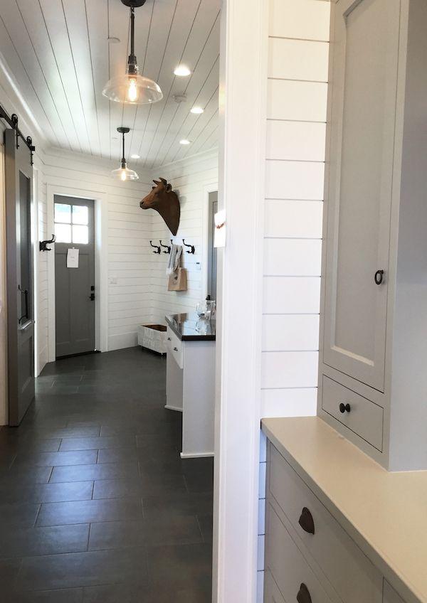 17 best ideas about gray tile floors on pinterest dark for Modern farmhouse mudroom