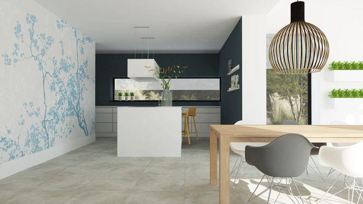 Modern Scandinavisch interieur met kookeiland en behang   Adrianne van Dijken Interieuradvies