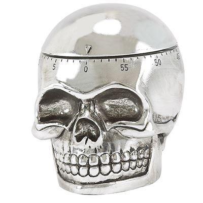 TIMER SKULL,Um timer analógico, com capacidade de tempo de até uma hora, semelhante a uma caveira.