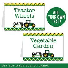 John Deere Party Editable Buffet Cards (INSTANT DOWNLOAD)