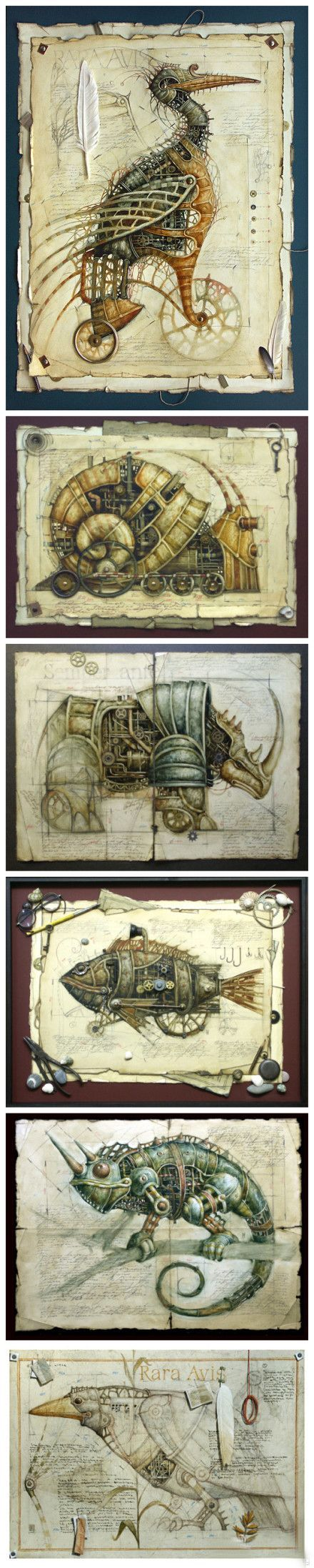 Beautiful artwork of steampunk animals. Starting point for maybe a middle school art project.: