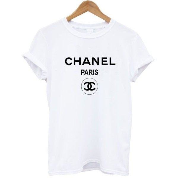 Chanel t shirt tee shirt rihanna tour comme hype ysl geek tee celine... ❤ liked on Polyvore featuring tops, t-shirts, white and black top, hipster t shirts, hipster tees, vintage tees and black white top