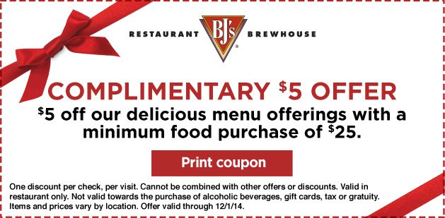 Bj's restaurant & brewhouse coupon codes