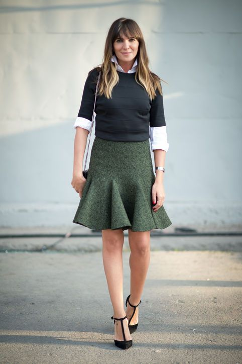 Fall 2015 Work Outfit Idea  Button-Down + Long-Sleeve Blouse + Trumpet Skirt + T-Strap Heels