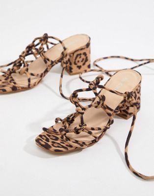 615035884b7 Public Desire Freya leopard knot detail tie up heeled sandals in ...