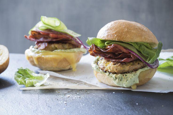 Chicken & bacon burgers with basil-avocado mayo