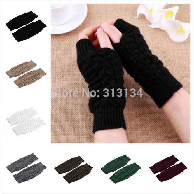 1 шт. новый унисекс женские мужчины рука теплее длинный пальцев вязать зимние перчатки трикотажные перчатки без пальцев зимние перчатки