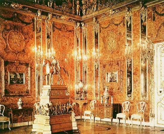 The Amber Room in the Catherine Palace in St. Petersburg, Russia. If you like amber - you'll love this!