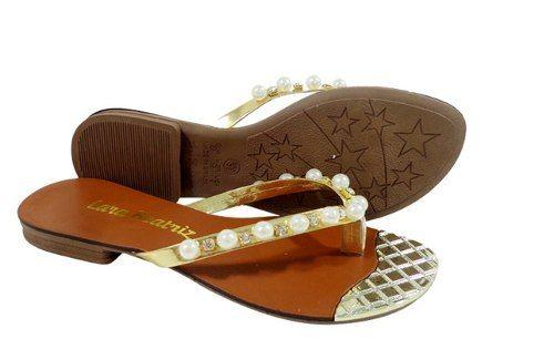 sandália femenina de pérola lara dourada frete grátis