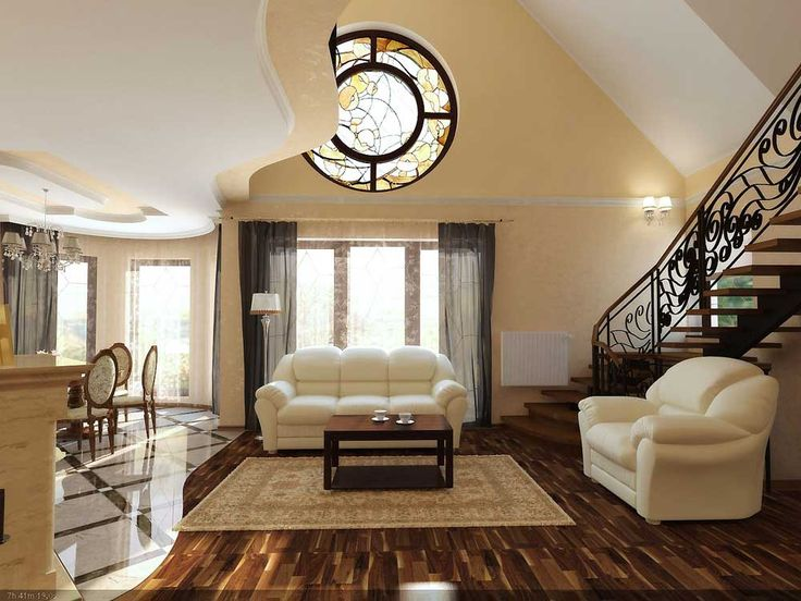 Staircase ideas living room with cream carpet can add the beauty inside the modern living room design