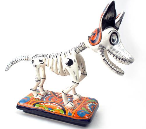 Figur Hund als Skelett - Dia de los Muertos kaufen im Mexiko-Fliesen Shop.
