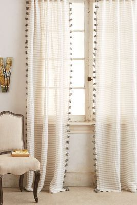 "pom pom white curtains thin cotton ticking stripe with poms for a ""simple- rustic-danish"" kitchen"