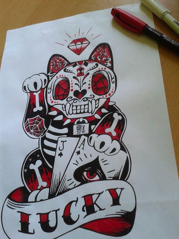 #santamuerte #cat #muertestyle #tattoo #drawing #centropen #luckycat #oldscholstyle