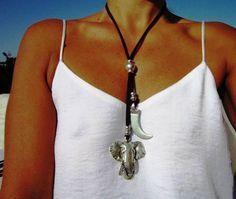 Collar africano collares de cuero para mujeres largo