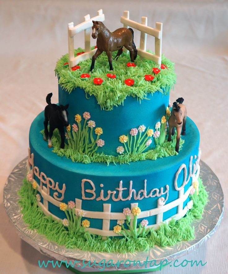Olivia's Horse cake - VBC frosting, over Rainbow WASC. Fondant fence accents and the horses were supplied by the client. TFL.
