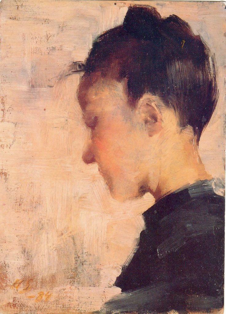 Helene Schjerfbeck (Finish 1862–1946) [Realism, Impressionism, Expressionism, Romanticism] Naisprofiili, 1884.