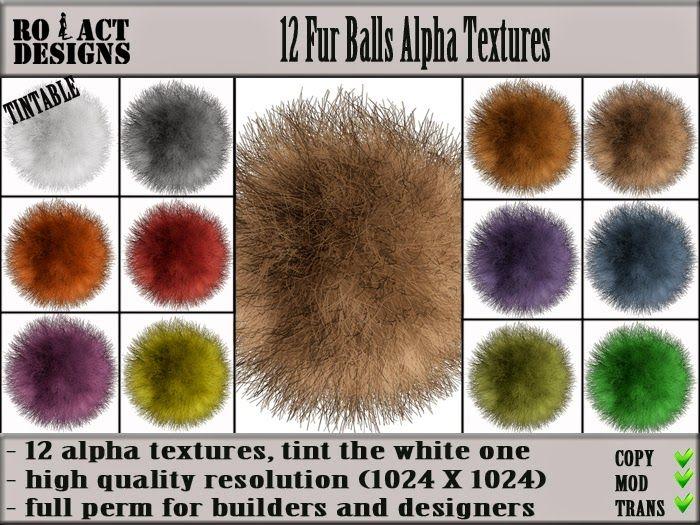 Ro!Act Designs 12 Fur Balls Alpha Textures
