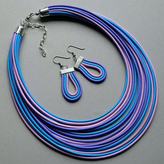 COLORIKA jewellery, COLORIKA necklace, multi strand necklace / textile jewelry / statement necklace / blue pink necklace
