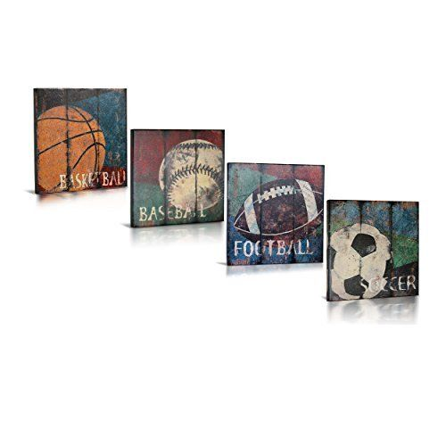 Sports Themed Canvas Wall Art for Boys Room Décor, Kids Room, Vintage Themed, Baseball, Basketball, Soccer, Football, Great Gift, by Green Frog Baby, Set of 4, 8x8 Each, http://www.amazon.com/dp/B012OZ0YV8/ref=cm_sw_r_pi_awdm_x_UXnUxb5AQ1D3P