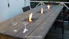 Gartenmöbel ,Gartentich ,Tisch mit Feuerstelle, individuelle Loungemöbel ,einzigatige Lampen,besondere Deko,außergewönliche Gestaltungs möglichkeiten.