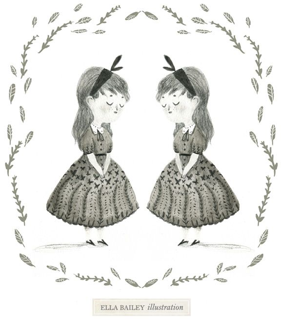 Two calm and charming girls drawn by Ella Bailey. Creature Comforts