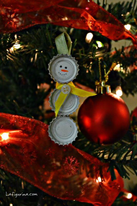 Riciclo creativo dei tappi della birra http://www.lafigurina.com/2013/12/riciclo-creativo-come-realizzare-pupazzi-di-neve-con-i-tappi-della-birra/