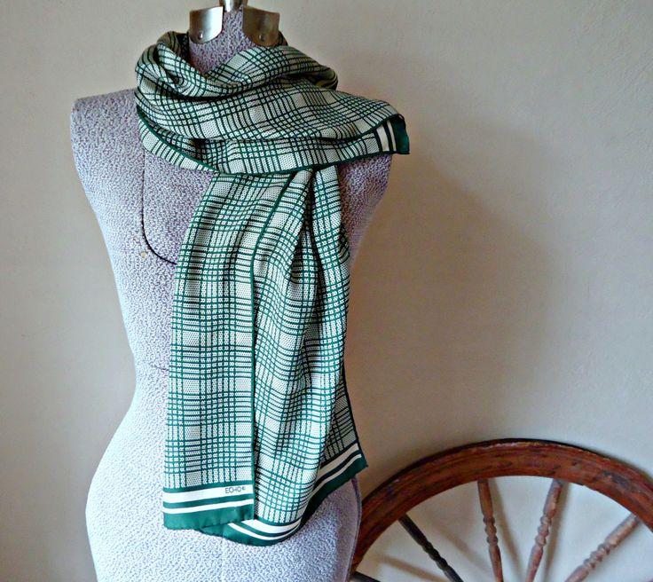 Vintage Scarf Silk Scarf  Designer Echo Green Cream Scarves   B106 by treasurecoveally on Etsy