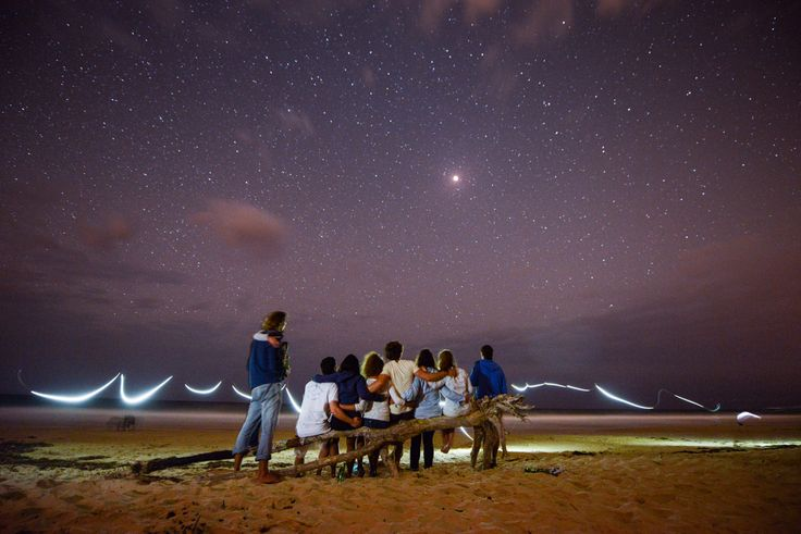 Backpackers watch the Red moon lunar eclipse on Home Beach, Point Lookout | Stradbroke Island Photography