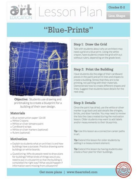 "Building Blue ""Prints"" - Free Lesson Plan that involves architecture, careers in art and printmaking for young children."