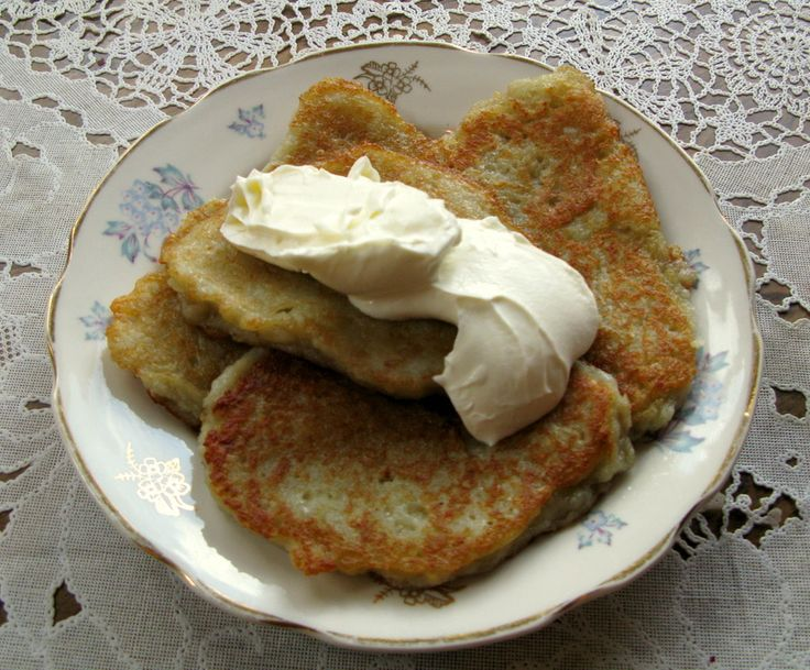 Potato Pancakes (russian cuisine)...I remember my mama making these when I was little...now I make them for my son, he loves them..