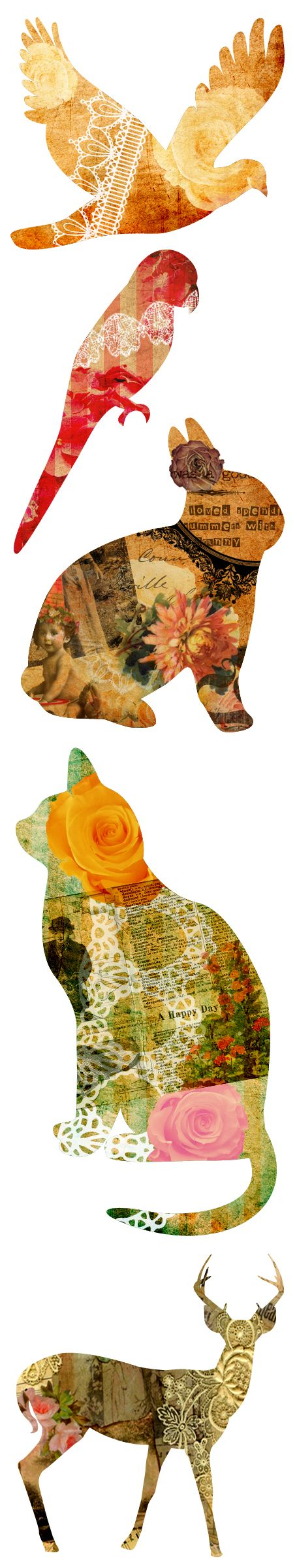 Collaged animal silhouettes - these would make great tags, or gorgeous printed onto transfer paper and ironed onto a pillowcase.