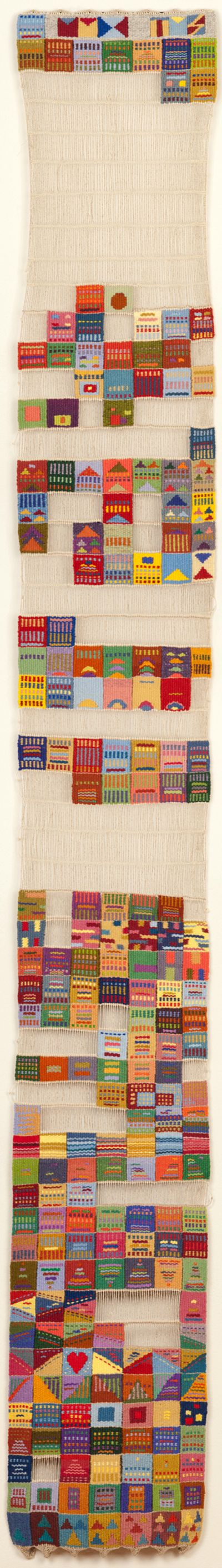 Tommye Scanlin, Tapestry of Days. 2010; This tapestry is handwoven with each area or section woven on each day as the year progressed. Indicators for the date were woven in some way. Empty warps were used to record days away from the studio in 2010. For more spring-themed fiber art, see the Spring 2013 issue of FiberArtNow.net magazine.