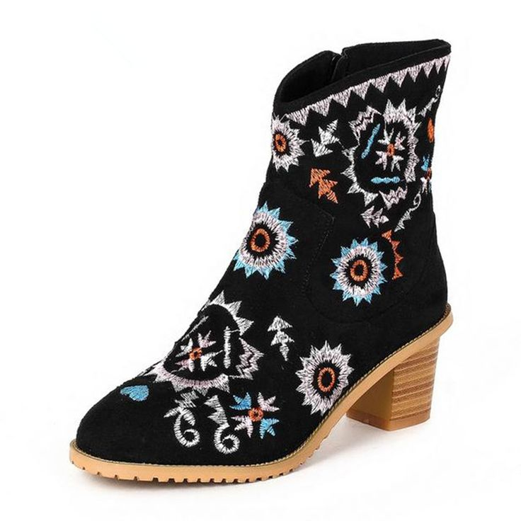 2016 Spring new thick with Female boots national style Martin boots Embroidered cloth shoes black high heel boot bota feminina #Affiliate