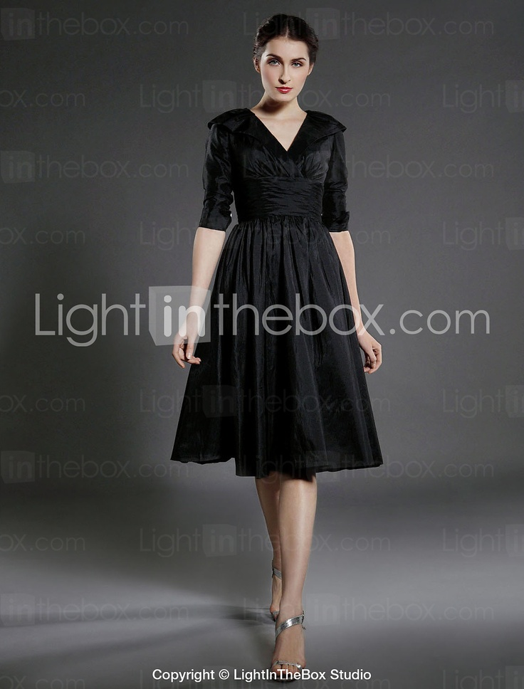 A-line V-neck Knee-length Taffeta Bridesmaid/ Mother of the Bride Dress - USD $ 97.99