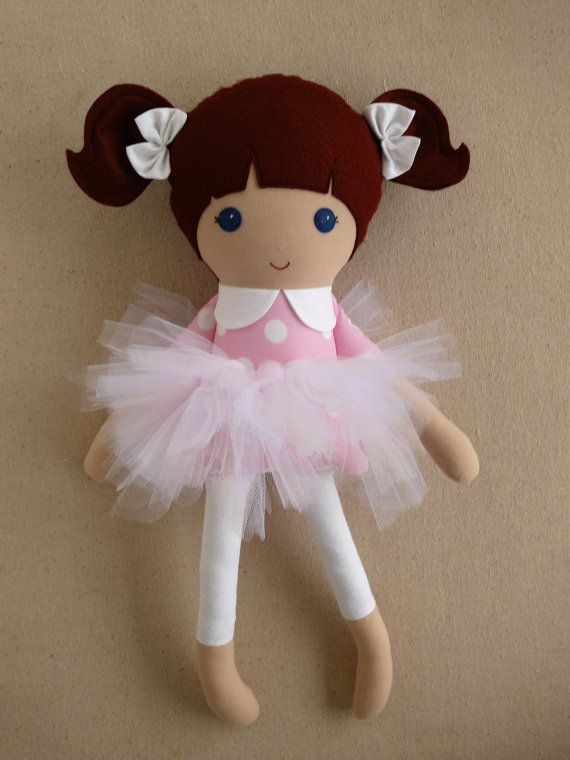 Fabric Doll Rag Doll Brown Haired Girl with by rovingovine on Etsy