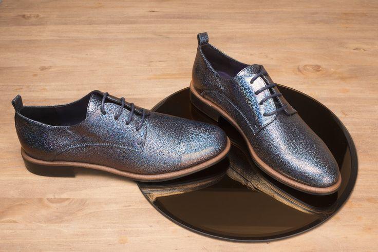 Jenna cuir bleu glitter #derby #derbies #leather #shoes #androchic #vintage