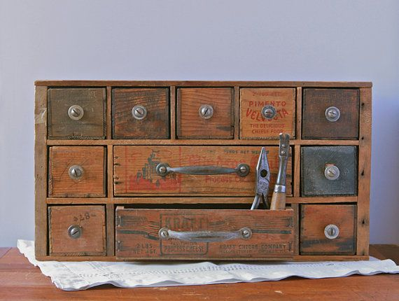 multi drawer tool and hardware desk organizer from repurposed vintage cheese boxes via etsy. Black Bedroom Furniture Sets. Home Design Ideas
